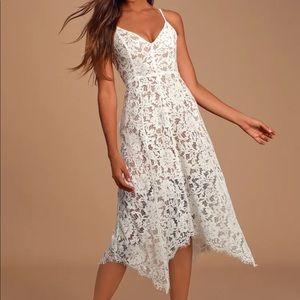 LuLu's Midi White Lace Dress